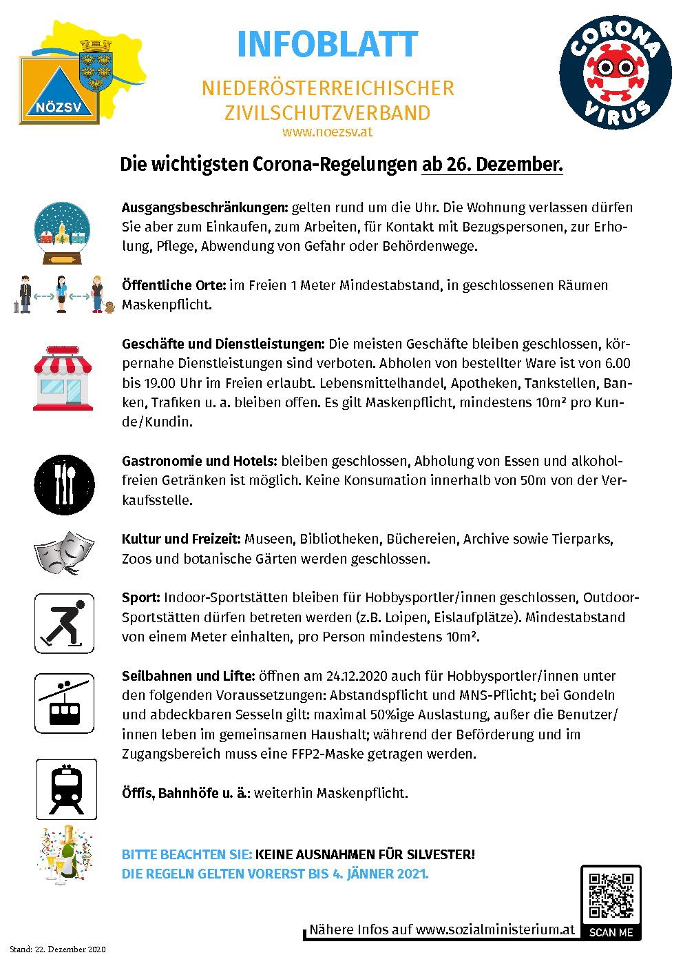 NOEZSV Regeln ab 26 Dezember 2020