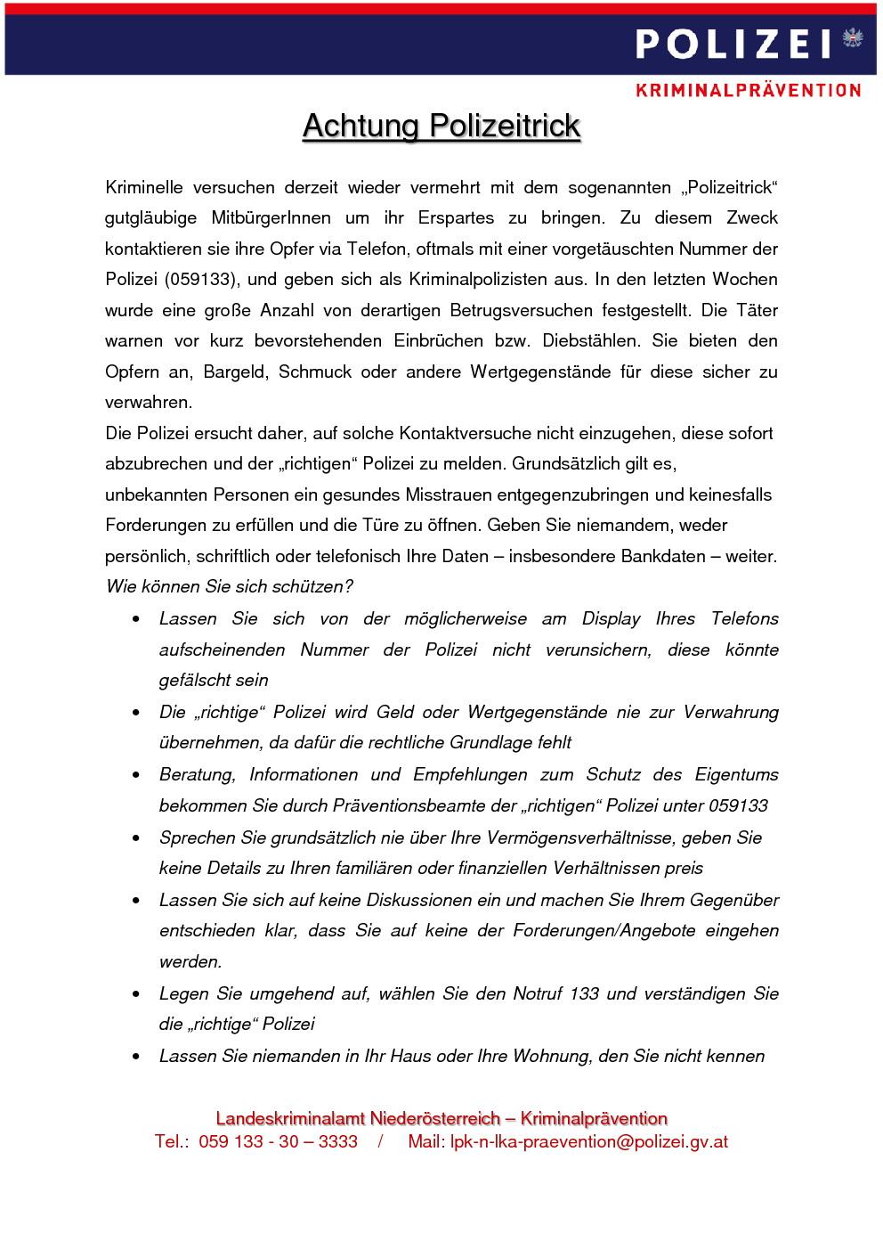 Polizeitrick Info