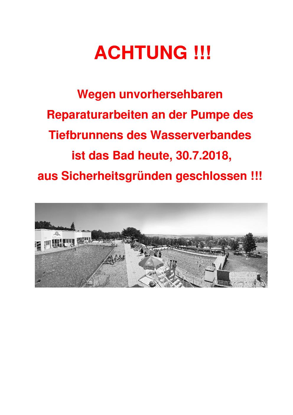 Bad geschlossen 30.7.2018
